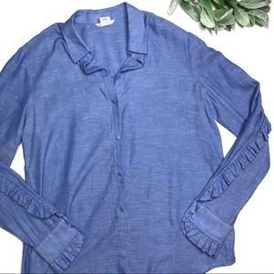 CLUB MONACO | sz S chambray ruffle button down